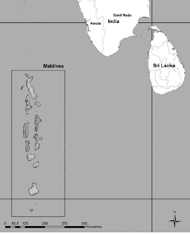 Maledivy - stát a soustroví v Tichém oceánu. Zdroj: autoři článku.